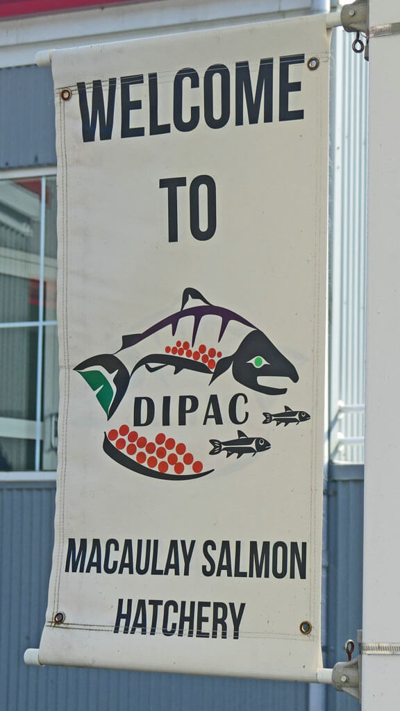 Welcome sign at Macaulay Salmon Hatchery in Juneau