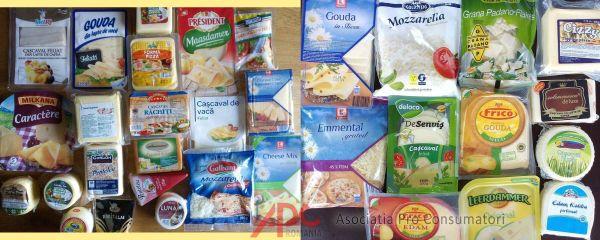 Asociația Pro Consumatori (APC) Brânzeturi cu amidon, clorură de calciu, acid citic, nitrat de sodiu și natamicină