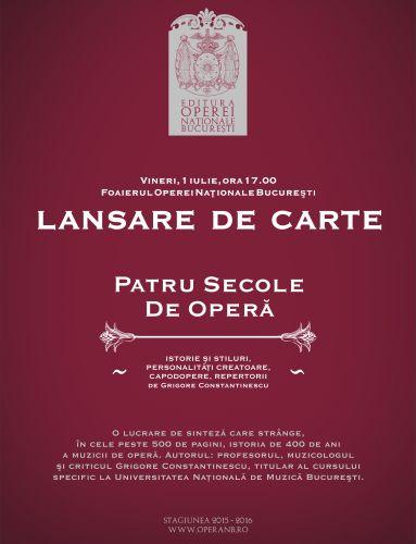 Lansare de carte la Opera Naţională Bucureşti