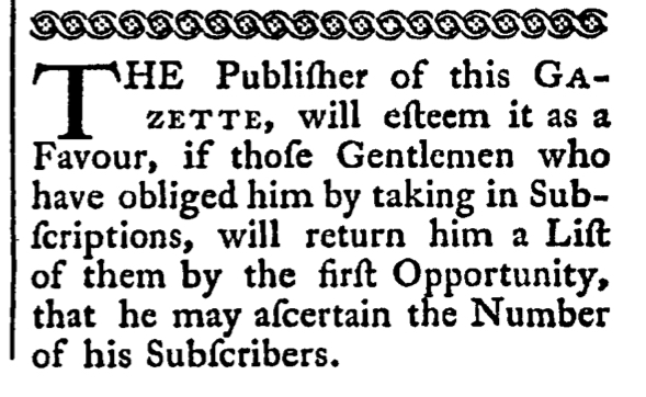 May 16 - Subscription 5:16:1766 Rind's Virginia Gazette