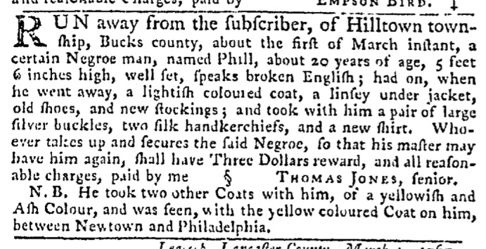 Mar 19 - Pennsylvania Gazette Slavery 5