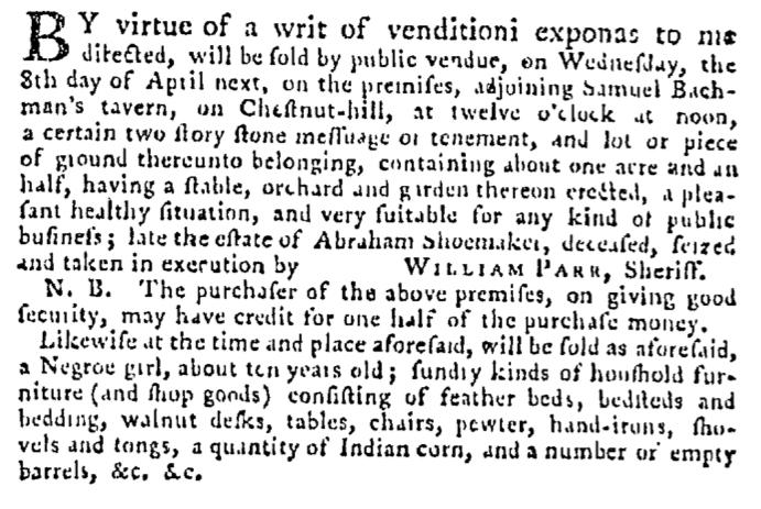 Mar 26 - Pennsylvania Gazette Supplement Slavery 1