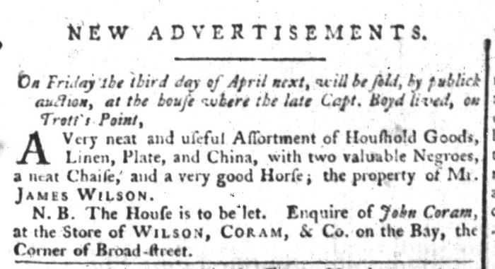 Mar 31 - South-Carolina Gazette and Country Journal Slavery 1