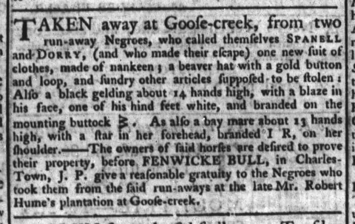 Mar 31 - South-Carolina Gazette and Country Journal Slavery 11