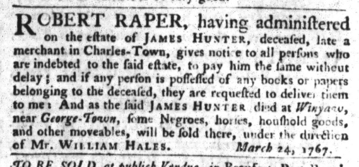 Apr 14 - South-Carolina Gazette and Country Journal Supplement Slavery 4