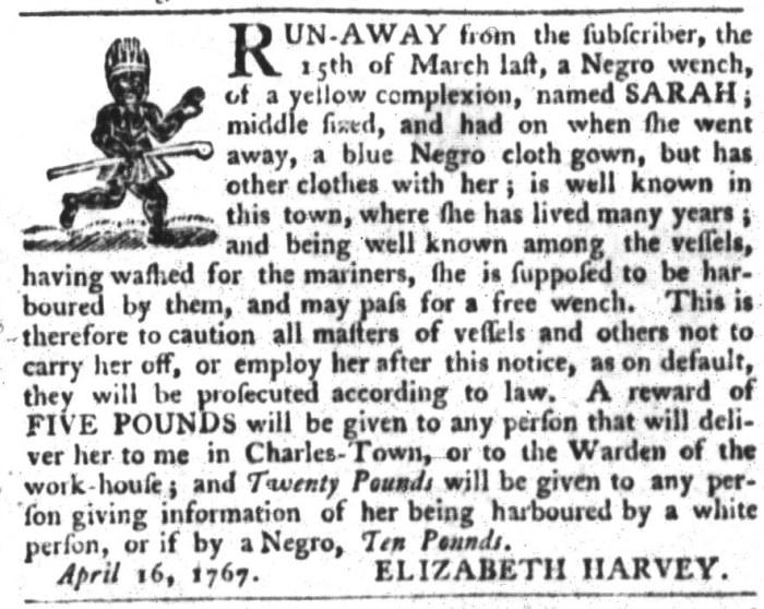 Apr 21 - South-Carolina Gazette and Country Journal Slavery 6