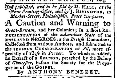Apr 27 - Pennsylvania Chronicle Slavery 1