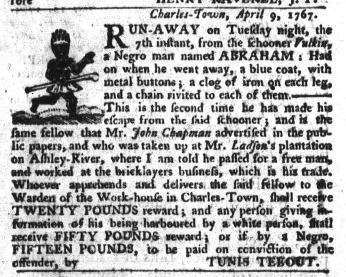 Apr 28 - South-Carolina Gazette and Country Journal Supplement Slavery 7