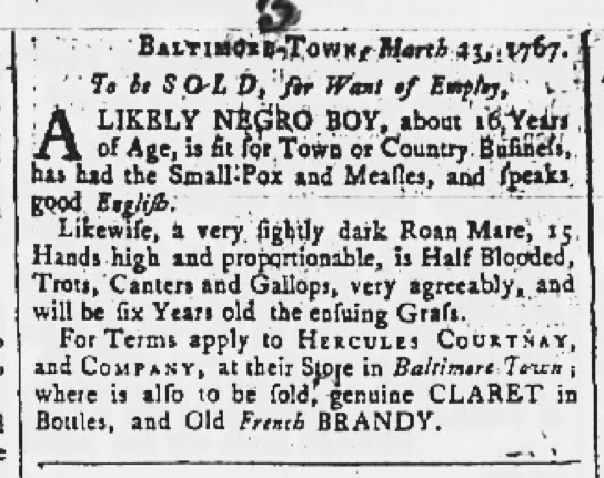 Apr 9 - Maryland Gazette Slavery 3