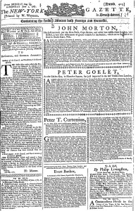 Jun 1 - 6:1:1767 First Page of New-York Gazette