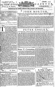 Jun 1 - 6:1:1767 First Page of New-York Gazette