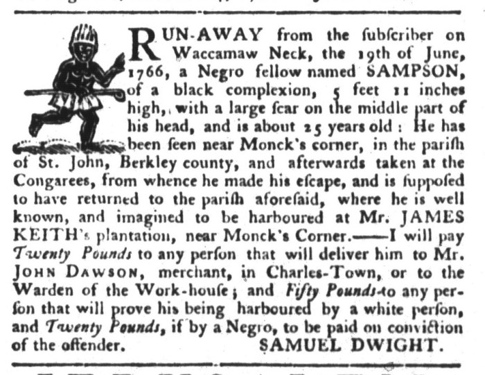 Jun 9 - South-Carolina Gazette and Country Journal Supplement Slavery 4