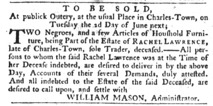 May 12 - South-Carolina Gazette and Country Journal Slavery 4