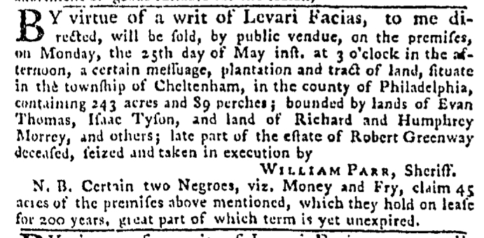 May 14 - Pennsylvania Gazette Slavery 1