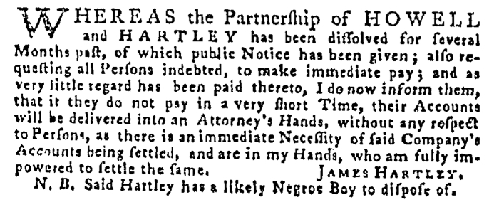 May 14 - Pennsylvania Gazette Supplement Slavery 1