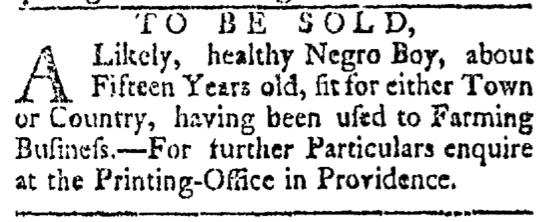 May 2 - Providence Gazette Slavery 2