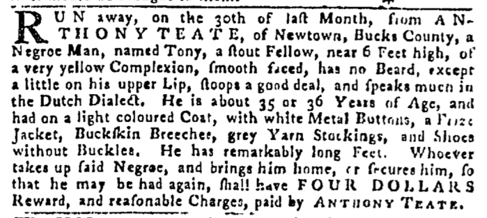 May 21 - Pennsylvania Gazette Slavery 3
