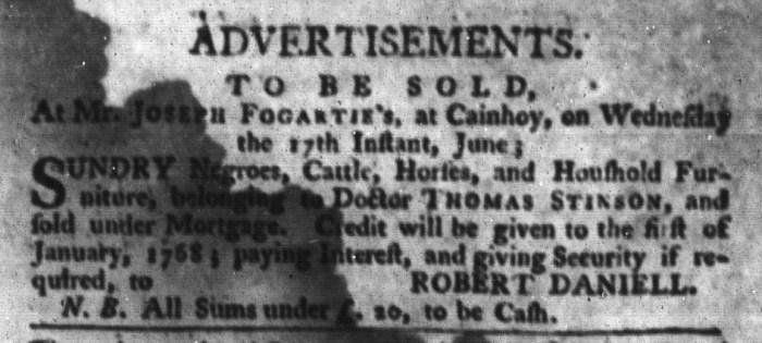 Jun 16 - South-Carolina Gazette and Country Journal Slavery 7