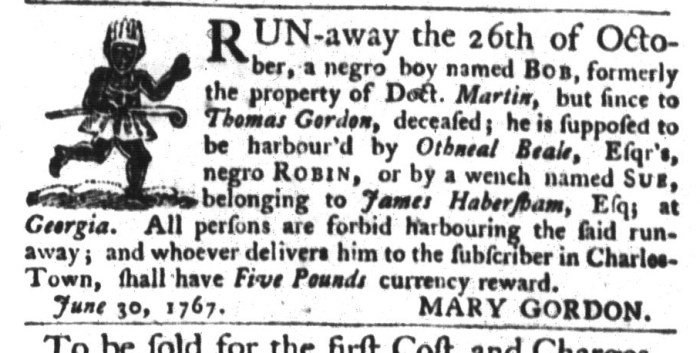 Jun 30 - South-Carolina Gazette and Country Journal Slavery 4