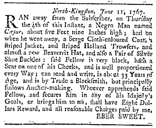 Aug 1 - Providence Gazette Slavery 1