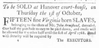 Jul 30 - Virginia Gazette Slavery 1