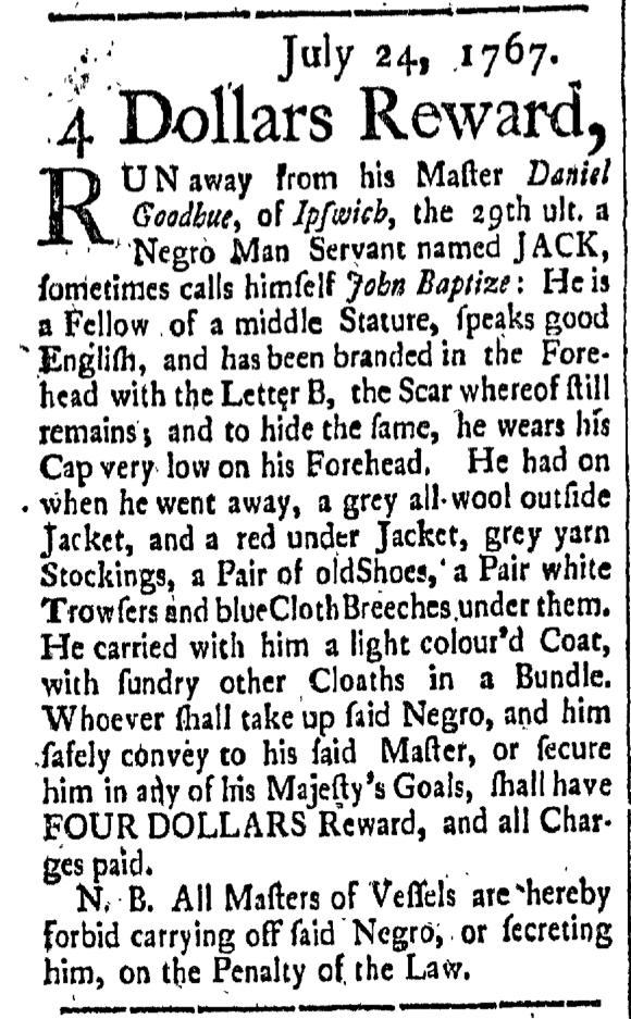 Jul 31 - New-Hampshire Gazette Slavery 1
