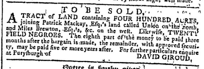 Aug 12 - Georgia Gazette Slavery 1