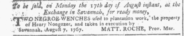 Aug 12 - Georgia Gazette Slavery 2