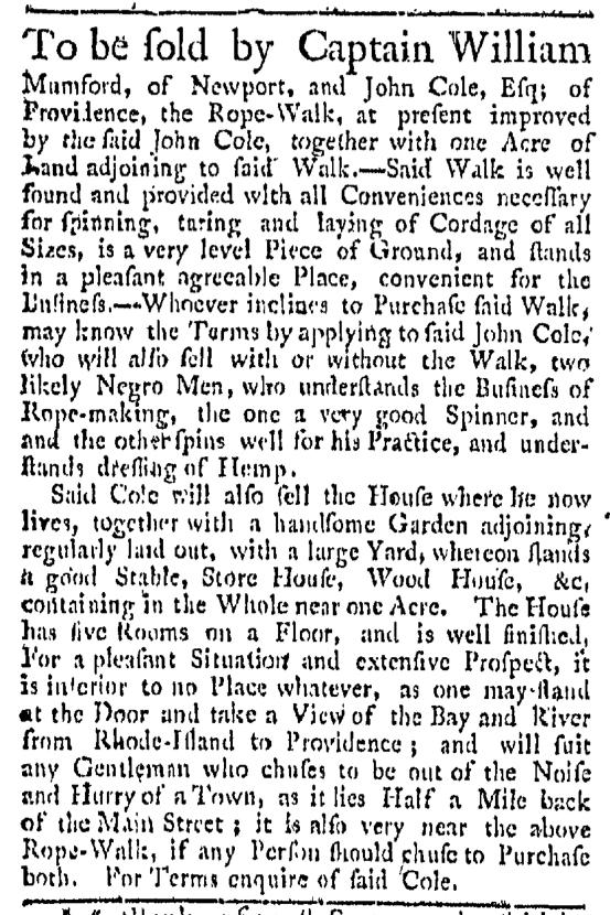 Aug 15 - 8:15: 1767 Providence Gazette