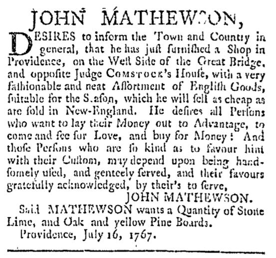 Aug 29 - 8:29:1767 Providence Gazette