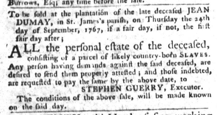 Sep 1 - South-Carolina Gazette and Country Journal Slavery 4