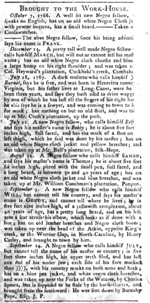 Sep 22 - South-Carolina Gazette and Country Journal Slavery 10