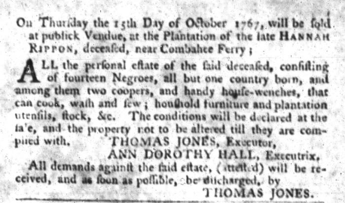 Sep 22 - South-Carolina Gazette and Country Journal Slavery 2