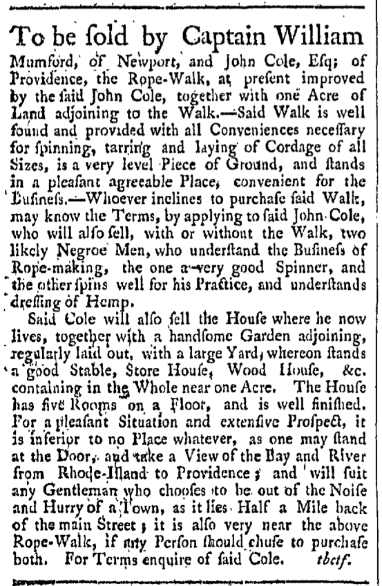 Sep 26 - Providence Gazette Slavery 1