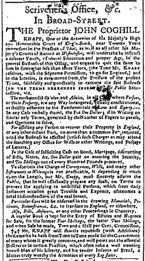 Sep 28 - New-York Gazette Slavery 1