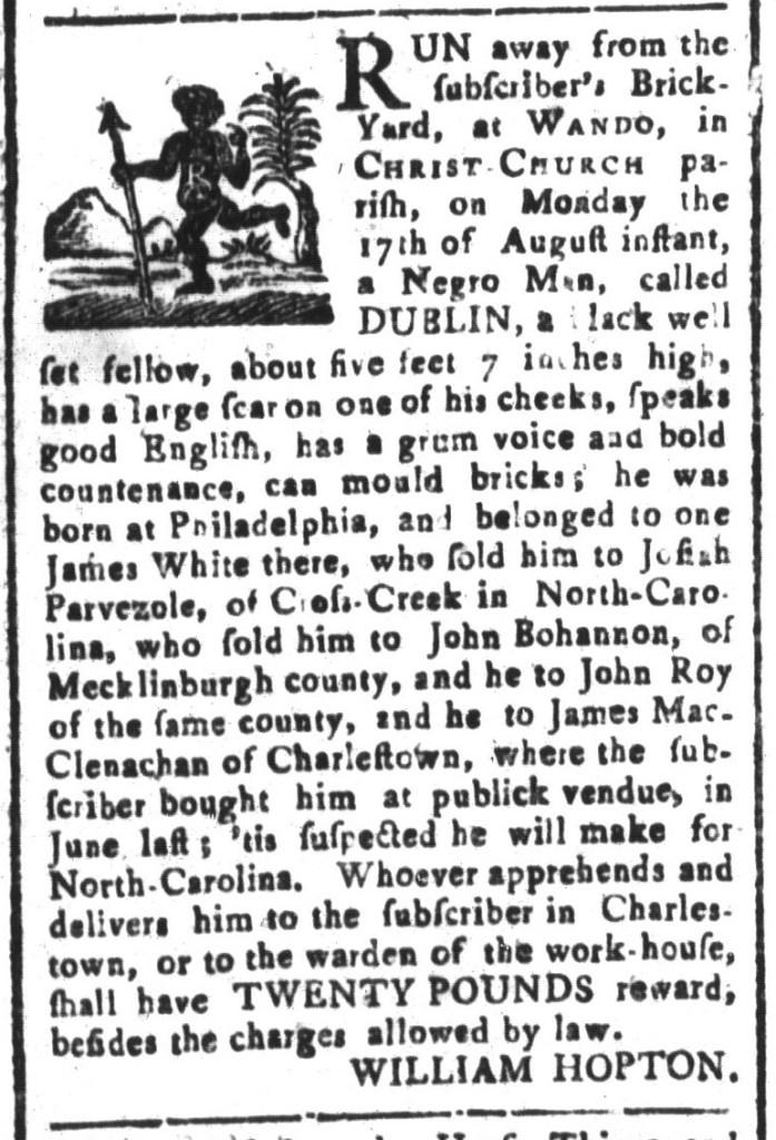 Sep 4 - South-Carolina and American General Gazette Slavery 1
