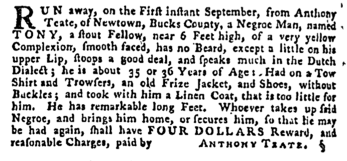Oct 1 - Pennsylvania Gazette Supplement Slavery 1