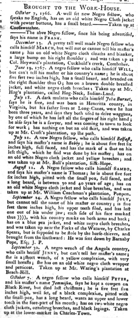Oct 13 - South-Carolina Gazette and Country Journal Slavery 8