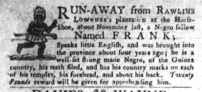 Oct 13 - South-Carolina Gazette and Country Journal Supplement Slavery 3