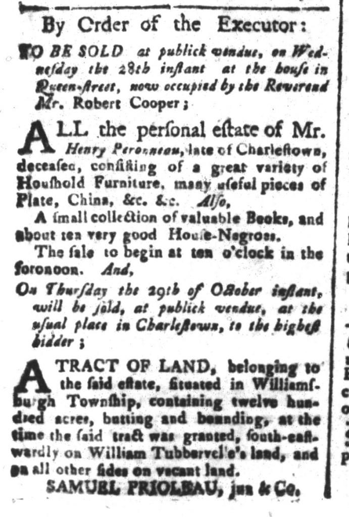 Oct 9 - South-Carolina and American General Gazette Slavery 1