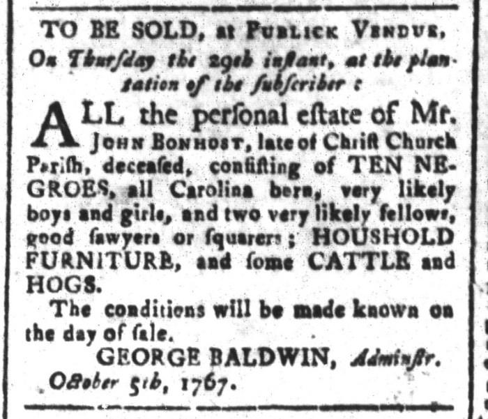 Oct 9 - South-Carolina and American General Gazette Slavery 2