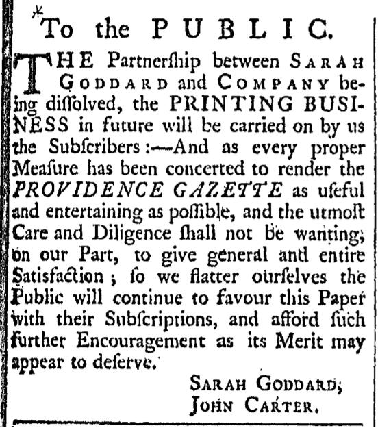 Sep 19 - 9:19:1767 Providence Gazette