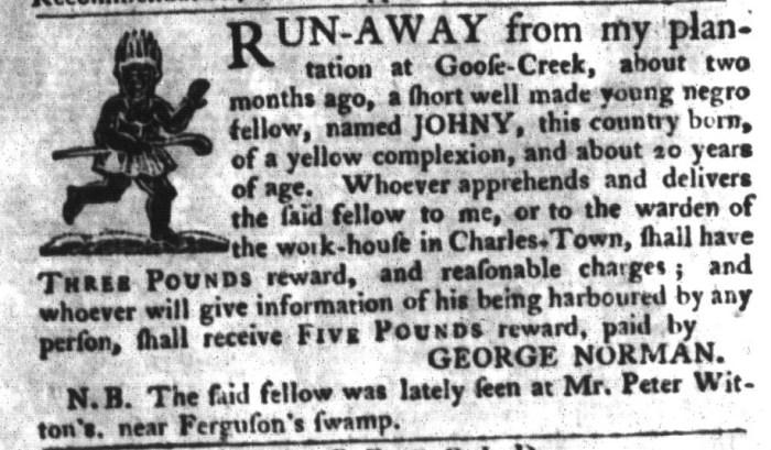 Nov 3 - South-Carolina Gazette and Country Journal Supplement Slavery 11