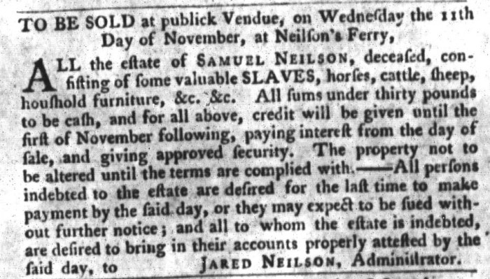 Nov 3 - South-Carolina Gazette and Country Journal Supplement Slavery 2