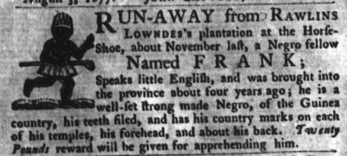Nov 3 - South-Carolina Gazette and Country Journal Supplement Slavery 9