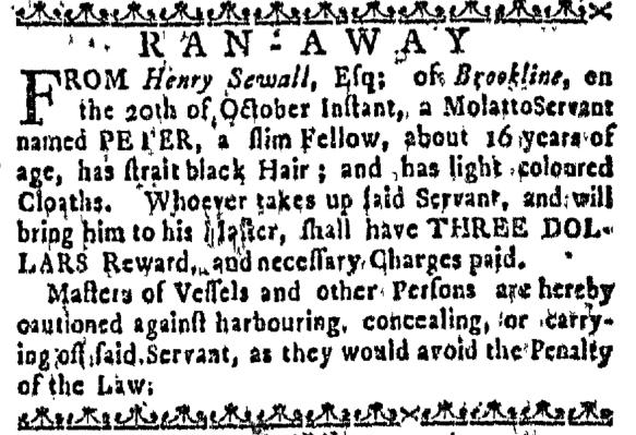 Nov 5 - Massachusetts Gazette Slavery 2