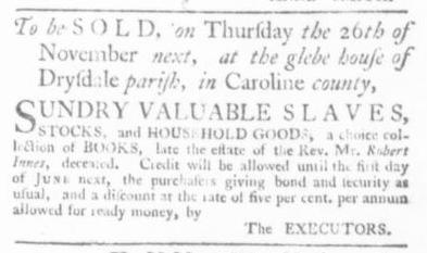 Nov 5 - Virginia Gazette Slavery 7