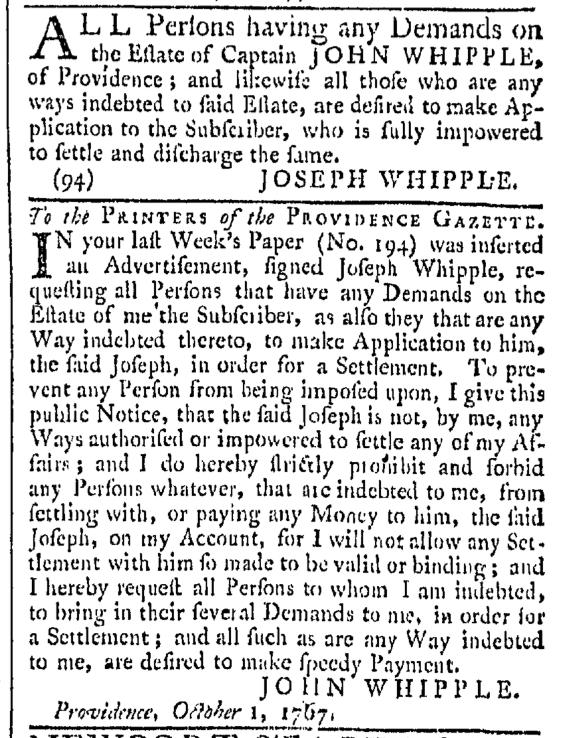 Oct 10 - 10:10:1767 Providence Gazette.jpg