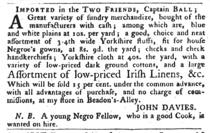 Oct 20 - South-Carolina Gazette and Country Journal Slavery 1