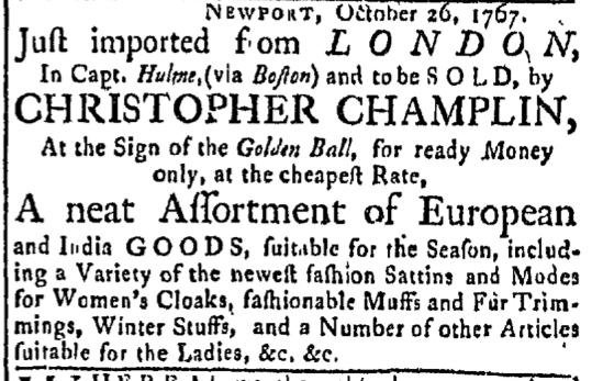 Oct 26 - 10:26:1767 Champlin Newport Mercury